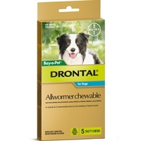 Pack of 5 Drontal Allwormer Chewable Tablets for Dog
