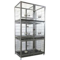 VEBO Metal Tube Stackable Twin Dog Cage (6 Berth Triple)