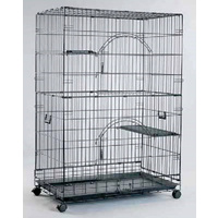 VEBO 3-Level Collapsible Cat Ferret and Small Animal Cage with Wheels
