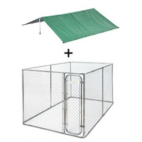VEBO Large 4m Chain link DIY Outdoor Dog Run Kit with Rain Cover