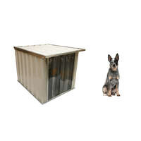 VEBO Outdoor Flat Roof Metal Dog Kennel House (Small/Medium)