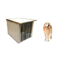 VEBO Outdoor Flat Roof Metal Dog Kennel House (Medium)